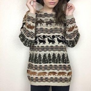 Vintage NWT Deadstock wildlife Grandpa Sweater